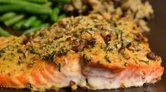 Salmon fillets brushed with honey and Dijon mustard, coated with bread crumbs and baked.