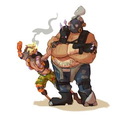 i keep forgetting that roadhog fucking towers over junkrat