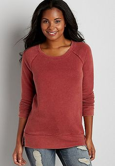 distressed pullover sweatshirt | maurices