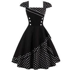 Buttoned Polka Dot Vintage Corset Dress - Black M Knee-Length A-Line Vintage Mode, Retro Vintage Dresses, Vestidos Vintage, Retro Dress, Vintage Outfits, Vintage Corset, 1950s Dresses, 50s Vintage, Corset Dresses