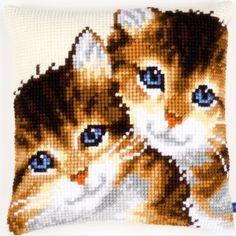 """Kittens"": kruissteekkussen om zelf te maken"