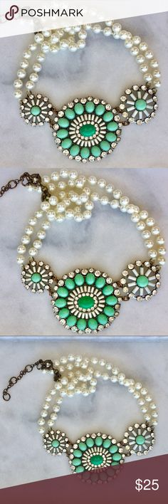 👗J. Crew Mint Multi Strand Pearl Necklace👗 Gorgeous turquoise and mint statement piece with two strands of pearls for chain. EUC. Cleaned ultrasonically just for you✨  💍🎈BUY ONE GET ONE FREE JEWELRY SALE🎈💍 1. Add one piece of jewelry worth $10 or more to a bundle. 2. Add a second piece of jewelry, worth $10 or less to your bundle. 3. I will send you a private offer equal to the price of only one piece! 💰🆓 J. Crew Jewelry Necklaces