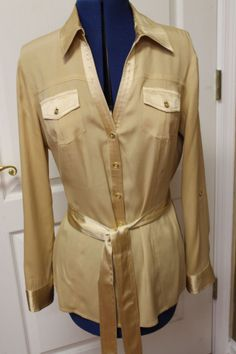 Cache Gold Silk Tie Belted Tunic Top Blouse Long Sleeve Shirt M #Style #Fashion #Deal