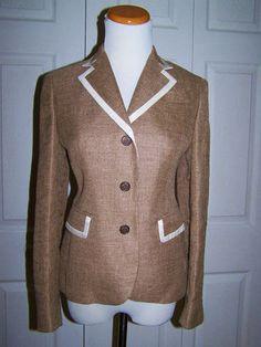 Ing Loro Piana for Brooks Brothers Ladies Wool Linen Blazer 0P 0 Petite | eBay