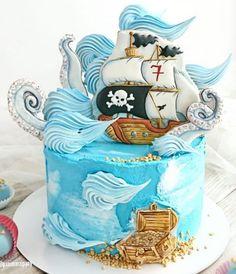 Cake Decorating Piping, Cookie Decorating, Fondant Cakes, Cupcake Cakes, Candy Birthday Cakes, Marvel Cake, Nautical Cake, Sea Cakes, Mini Tortillas