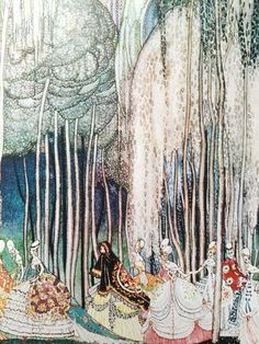 Watercolor / aquarel by Kay Nielsen - The shoes that were danced to pieces - 1913