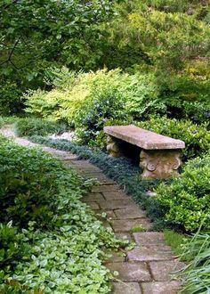 garden bench 35 Beauty and Convenience Landscape of Backyard with Bench Shade Landscaping, Garden Landscaping, Landscaping Ideas, Landscape Design, Garden Design, Vintage Garden Decor, Lawn Edging, Woodland Garden, Shade Garden