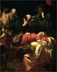 """Michaelangelo da Caravaggio, """"De dood van Maria"""",  dit altaarstuk werd geweigerd, de Maagd Maria leek hier teveel op een echt mens. Hij werd ervan beschuldigd dat hij alleen maar kon schilderen wat hij zag, en niet in staat was tot echte schepping van kunst; het verheffen van het onderwerp tot een ideaal. De Madonna met vuile voeten afbeelden of als een gewone vrouw, dat was ongehoord."""