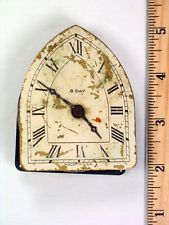 Small Old Vintage 8-Day Steeple Clock Movement with Metal Dial Made in U.S.A.