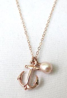 Lucky Rose Gold Anchor necklace simple rose gold by ColorMeMissy