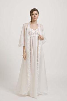 Susanne - nightgown and robe Girls Night Dress, Night Gown Dress, Night Dress For Women, Italian Lingerie, Vintage Lingerie, Women Lingerie, White Nightgown, White Dress, Stylish Dress Designs
