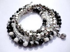 Zebra Jasper Silver Bracelet Set with Crystal by InBloomGallery, $25.00
