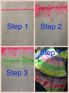 Step 1: add a line of puff paint to your shirt. Step 2: smear the puff paint up and down.  Step 3: add more lines one at a time. Step 4: wash and wear