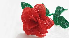 French beaded flowers : rose pattern