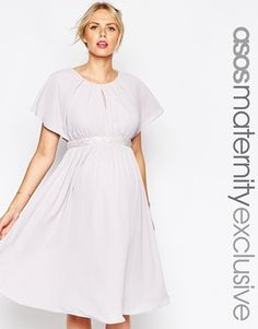ASOS Maternity Midi Skater Dress With Jewelled Belt