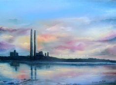The Pigeon House (Poolbeg Station) Dublin Oil painting by Donna McGee Pigeon House, Dublin, How To Find Out, Oil, Abstract, Photos, Painting, Paintings, Summary