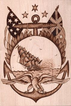 Nautical Woodburning / Clipper & Eagle by colleencaron on Etsy, $90.00