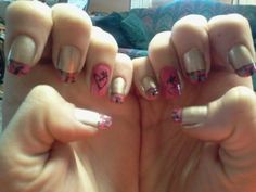 Pink cammo browning nails