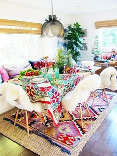 Bohemian style dining room