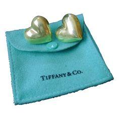 Vintage Tiffany  Sterling Silver Heart Earrings 1980s - $265.