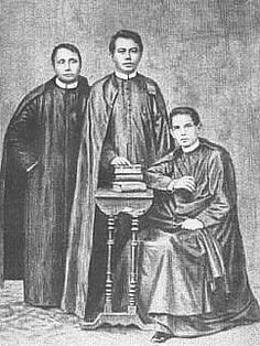 The three martyred Priests, Fathers Mariano Gomez, Jose Apolonio Burgos, and Jacinto Zamora, better known for the acronym GOMBURZA, were executed on February 17, 1872 by garrote by the Spaniards in Bagumbayan in connection with the 1872 Cavite Mutiny.