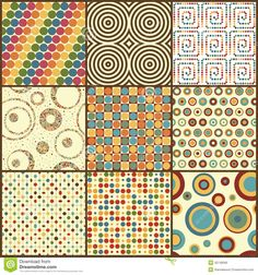 Set Of Nine Retro Geometric Seamless Patterns With Circles - Download From Over 30 Million High Quality Stock Photos, Images, Vectors. Sign up for FREE today. Image: 30748566