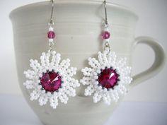 Beaded rivoli earrings Swarovski rivoli earring by MisakoBeads, £13.00