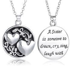 Best Friend Friendship Family Sister Double Heart Pendant Necklace Chain Jewelry