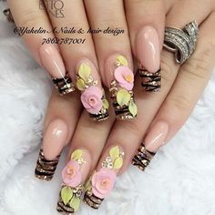 15 Cute Nail Art Designs to Welcome Summer Fabulous Nails, Perfect Nails, Gorgeous Nails, Pretty Nails, 3d Flower Nails, Rose Nails, Cute Nail Art Designs, Bling Nails, 3d Nails