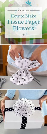 Giftology: How to Make Tissue Paper Flowers | Learn the art of gift wrapping from the experts at Hallmark. Watch our easy video tutorial to see how to make your gift stand out with a DIY tissue paper flower: five sheets + fold + fluff = fabulous!