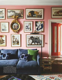 pink gallery wall, pink living room, colorful home decor