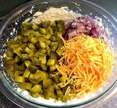 bowl of easy appetizer dip ingredients: dill pickles, cheddar cheese, red onion, cream cheese , and pickle juice Easy Appetizer Recipes, Appetizer Dips, Best Appetizers, Dip Recipes, Easy Recipes, Cheese Appetizers, Christmas Appetizers, Recipies, Clean Eating Snacks