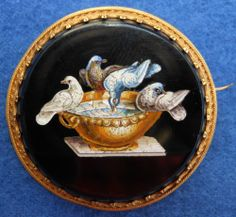 Unbelievable! Antique Micro Mosaic 14K Gold Brooch Doves Of Pliny Italian