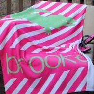 Beach Towel - Stripe Pink Alligator Print