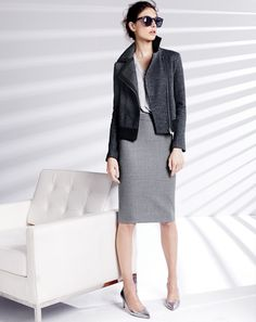 leather jacket + a grey pencil skirt = cool office style