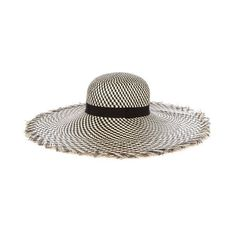Benoît Missolin Ubud straw hat ($375) ❤ liked on Polyvore featuring accessories, hats, black white, wide brim straw hat, black and white wide brim hat, band hats, black and white straw hat and black and white hat