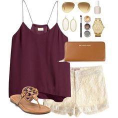 """lunch out"" by classically-preppy on Polyvore maroon lace shorts"
