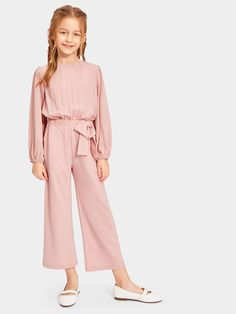 Girls Zip Back Bow Waist Solid Jumpsuit Baby Girl Dress Patterns, Kids Outfits Girls, Girls Fashion Clothes, Cute Outfits For Kids, Teen Fashion Outfits, Little Girl Dresses, Girl Fashion, Girl Outfits, Girls Dresses