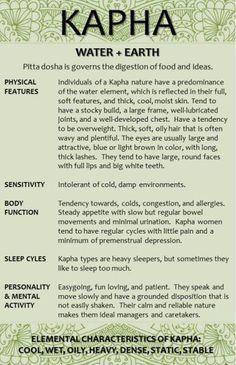 Kapha Dosha Characteristics 1