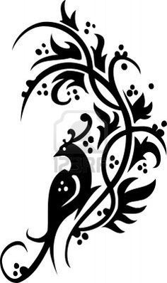 Illustration of Chinese Floral Design - Vinyl-ready vector image! vector art, clipart and stock vectors. Stencil Patterns, Wood Patterns, Textures Patterns, Stencils, Stencil Art, Chinese Flowers, Arabesque Pattern, Glass Engraving, Shrink Art