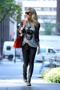 rock style // leather jacket, tiger tee, leather pants + high tops