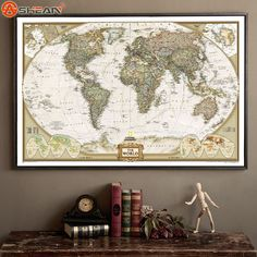 World Map Decal //Price: $ 9.95 & FREE shipping //  #walldecal #wallart #homedecoration
