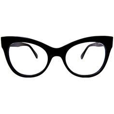 Norma Kamali Square Cat Eye Glasses / Black ($98) ❤ liked on Polyvore