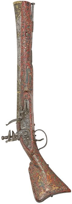 Indo-Persian flintlock blunderbuss (Algerian toe-lock mechanism), 19th c, barrel chiselled and gilt with cartouche-shaped panels of flowering foliage, incorporating a back-sight, flat lock (roller missing) and ring-neck cock chiselled en suite, stock painted in polychrome and gilt against a red ground with foliage inhabited by Persiapolitan male and female figures and foxes, the left butt with a nobleman on horseback, iron butt-plate, trigger-guard, ramrod-pipes and ramrod, 30.5 cm. barrel.