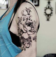 Pivoines fleurs tatouage réaliste