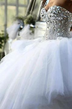 Lots of Crystal Bling on this Sweetheart Neckline and full Princess Tulle Wedding Gown by Pnini
