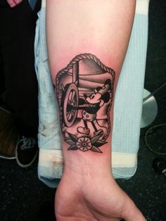 Traditional Steamboat Willie Mickey Tattoo by Steve Rieck Las Vegas