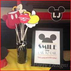 Photo booth prop and sign created for Mickey Mouse birthday party. By Distinctive Party Designs. Minnie Mouse Theme Party, Mickey Mouse Bday, Mickey Mouse Parties, Mickey Party, Mickey Mouse First Birthday, Mickey Mouse Clubhouse Birthday Party, 3rd Birthday Parties, 2nd Birthday, Birthday Ideas