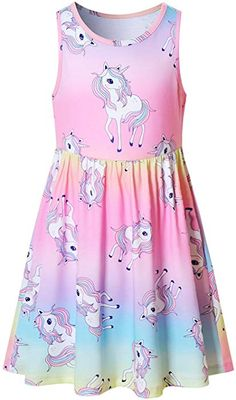 QPANCY Girls Unicorn Dresses Summer Flutter Sleeve Rainbow Party Clothes for Kids Cute Girl Outfits, Little Girl Dresses, Kids Outfits, Casual Outfits, Girls Dresses, Summer Dresses, Casual Clothes, Dresses For Kids, Summer Outfits