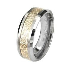 Tungsten Carbide Flat Comfort Fit Men Celtic Dragon Gold Inlay 8mm Wedding Ring Band: http://www.amazon.com/Tungsten-Carbide-Comfort-Celtic-Wedding/dp/B004TIN4CA/?tag=autnew-20